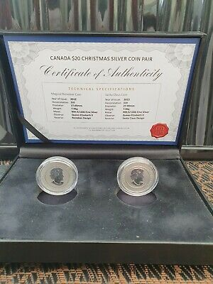 "2012 & 2013 Canada .999 Silver $20 coin set ""Christmas"" in Case with COA"