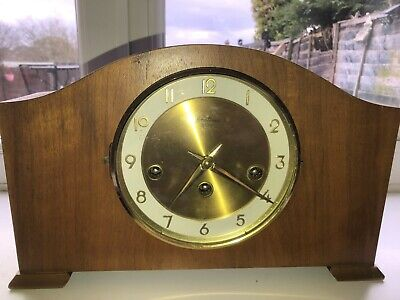 Vintage 1940s Smiths Enfield Westminster chime mantle clock with key THREE HOLE.