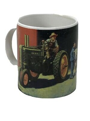John Deere Coffee Mug Moline Illinois Tractor Cow Barn Chickens