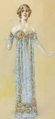 French School ca. 1920: A Pretty Girl Dressed for a Party, Art Deco Gouache
