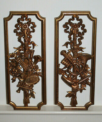 Vintage Pair 1964 Syroco Wall Plaques Musical Instruments Lyre Horn Roses