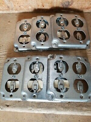 """6 each. T & B RS 8 4"""" Steel Square Box Surface Cover, 2-Duplex Flush Receptacles"""