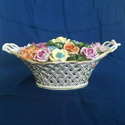 VTG Rare Herend Hungary Handpainted Victorian Porcelain Floral Weaved Centerpiec