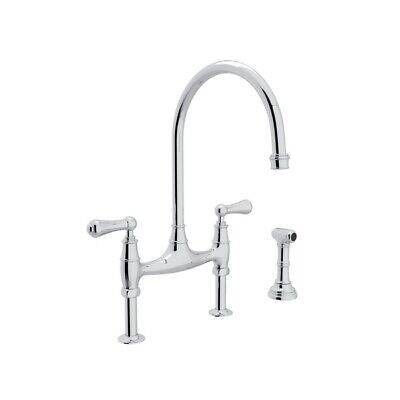 Perrin %26 Rowe Georgian Era Bridge Kitchen Faucet With Sidespray - Polished