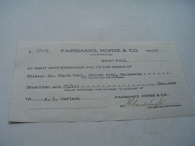 Antique FAIRBANKS MORSE CO, collection department, check. 1909.