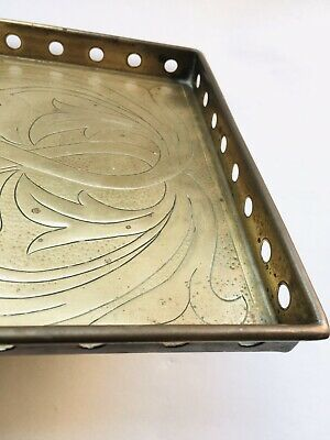 Rare Arts and Crafts * Newlyn style Rectangular Galleried * Hammered BRASS TRAY