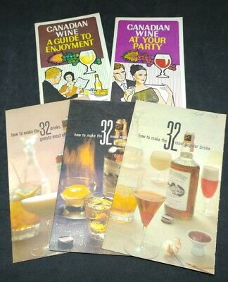 Lot of 5 Vintage 1950s 1960s Wine Mixed Drink Guides Booze Party Recipe Guide