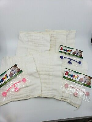 6newborn prefolds cloth diapers with 3 snappi clips
