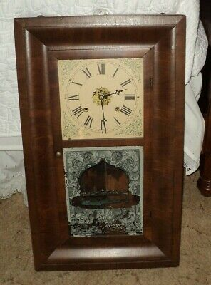 Antique OGEE Waterbury Weight Driven Wall,Mantle Clock With Key Works Fine