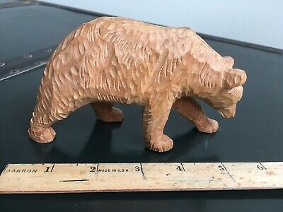 Quebec Canada Hand Carved Folk Art Wood Bear Sculpture