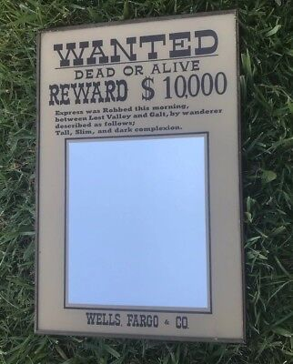 Wanted Dead Or Alive Reward $10,000 Wells. Fargo & Co. Pub Bar Decor 46X30.5 Cm