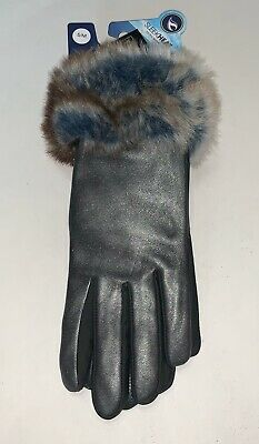 Women's Isotoner grey stretch leather touch screen gloves faux fur S/M