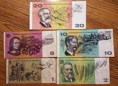 Set of Commonwealth of Australia notes $1, $2, $5, $10, & $20 dollar note