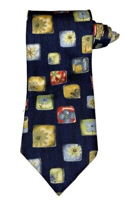 St Michael Marks & Spencer Silk Neck Tie Geometric Navy Blue Gold Yellow Red