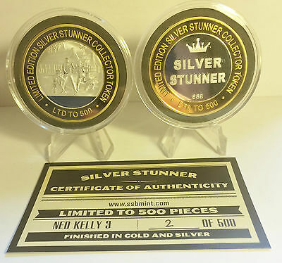 """Ned Kelly 3 43mm """"SILVER STUNNER"""" C/TOR TOKEN,COIN C.O.A. Only 500, $50 at Mint"""