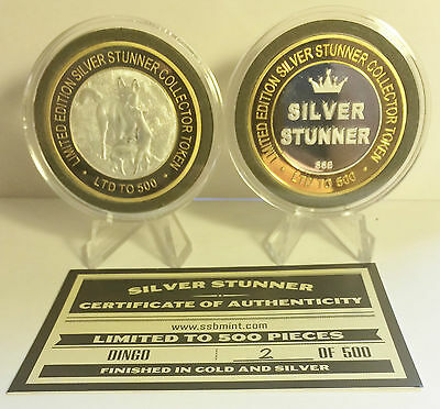 """Dingo pups 43mm """"SILVER STUNNER"""" C/TOR TOKEN,COIN C.O.A. Only 500, $50 at Mint"""