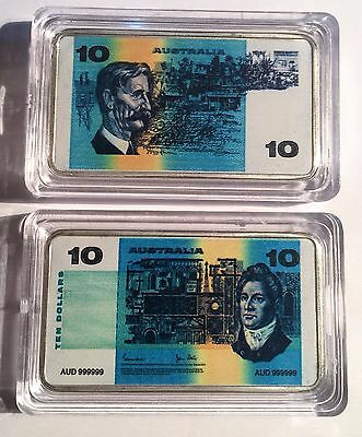 New $10.00 Australian Old Note 1 oz Ingot 999 Silver Plated/Colour Printed