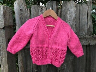 Cardigan Hand knitted 6-18 Months (Pink Sorbet)