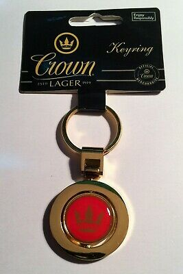 1 x  Crown Lager, Quality thick metal, Gold colour, Key Ring, Key Chain, Gift