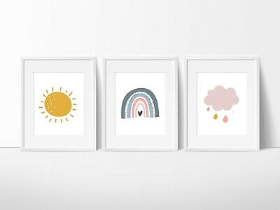 Boho Rainbow and clouds Nursery Wall Decor Prints, Rainbows, clouds and sun