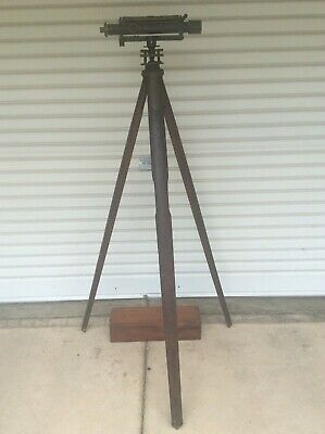 VINTAGE 1910's  ESDAILE DUMPY LEVEL WITH WOODEN TRIPOD, DISPLAY