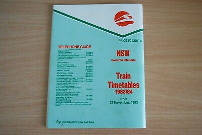 NSW Country & Interstate Train Timetables 1983/84