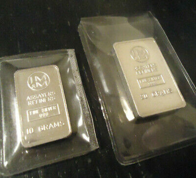 JOHNSON MATTHEY & MALLORY ! BULLION > 20 & 10 Gram_SET ! > 999 FINE SILVER !