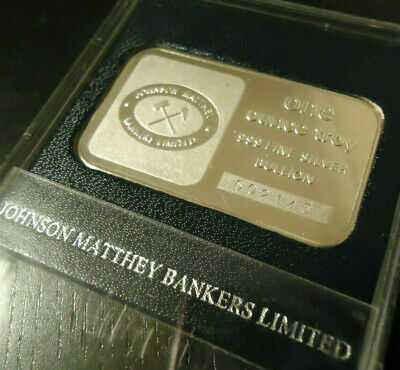 "JOHNSON MATTHEY ""Bankers Limited"" BULLION!  1 oz_ .999 FINE SOLID SILVER !"