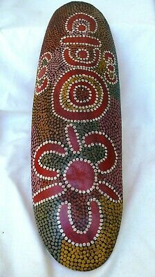 Vintage Aboriginal carved Coolamon with Dot Painting