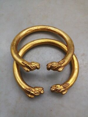Chinese Double Dragon vein bracelet gilt bronze Bracelet bangle