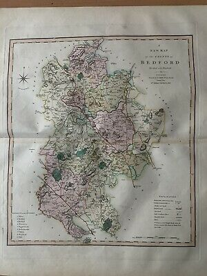 1808 BEDFORDSHIRE LARGE HAND COLOURED BEAUTIFUL MAP BY CHARLES SMITH 65 x 53 cm