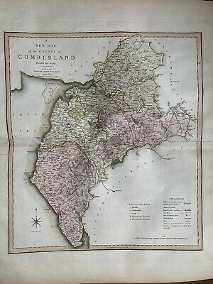 1808 CUMBERLAND LARGE HAND COLOURED BEAUTIFUL MAP BY CHARLES SMITH 65 cm x 53 cm
