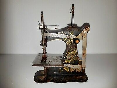 Antique Muller No.1 front winder tinplate Toy sewing machine