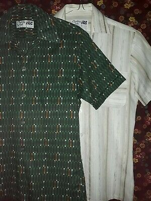 2 Men's Vintage 80s Short Sleeve Shirts Size S Country Club