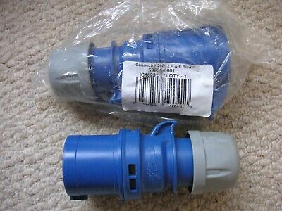 16amp 2Pin+E (3pin) Straight Plug and Socket NEW