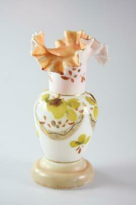 Victorian Milk Glass Small Vase With Floral Pattern