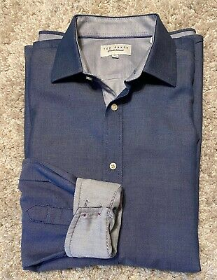 TED BAKER LONDON Mens Endurance Button Up Career Shirt Size 16.5 Denim Blue
