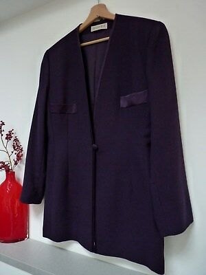 Ladies Lovely Jacques Vert Purple Thigh Length Wool Mix Evening Jacket, 16, Vgc