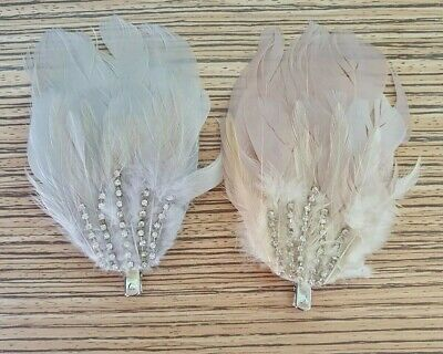 Light Peach Pink Silver White Feather Fascinator Hair Clip. Hand Made. Weddings