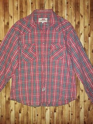Mens Long Sleeve Red Western Style Shirt Size XL Levis Red Tab