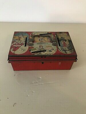 Antique Early 20th Century Tin Plate Children's Cash Money Box