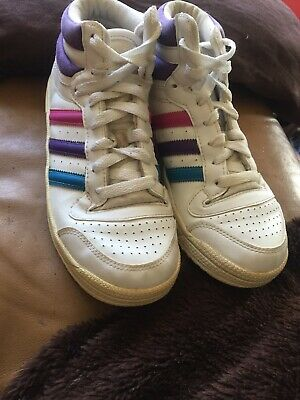 girls Adidas Hi Tops white/purple/pink/blue leather lace up trainers uk 3