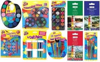 Childrens Paint Pot Sets - Poster Oil Watercolour acrylic Paints Kids Art Set
