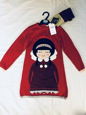 EASTER GIFT BNWT M&S Knitted Dress & Tights Set, Eskimo Print Girl Age 5-6 Years