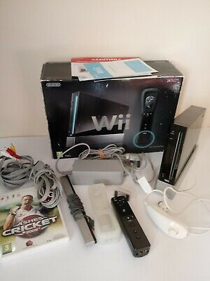 Nintendo Wii Games Console Black Boxed Sports Resort Package Tested