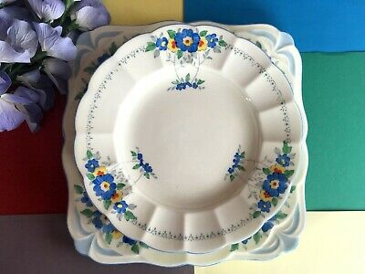 Art Deco, Vintage Plant Tuscan Bone China Tea Set Cake Plate & Five Cake Plates