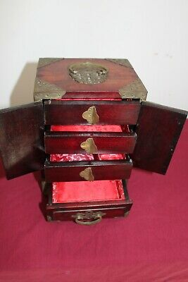 1900S Antique Carved Rosewood & Jade Chinese Trinket Box