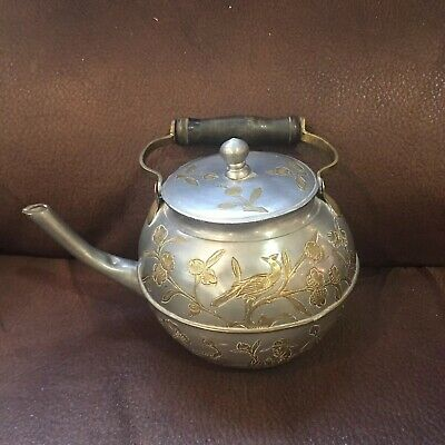 Antique Pewter & Brass Chinese Teapot Engraved Bird and Flowers  Wood Handle