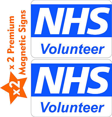 x 2 Large Magnetic Signs 10% to NHS Volunteer signage vehicle emergency covid