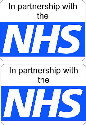 x 2 A5 Stickers WORKING IN PARTNERSHIP with NHS signage vehicle emergency covid